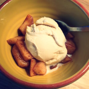 Baked Cinnamon Apple with Ice Cream