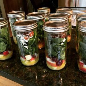 Apple Pecan Mason Jar Salads are so delicious and perfect for summer.