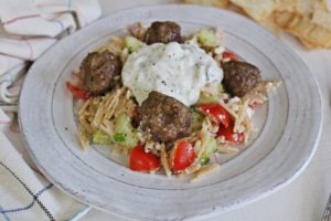 Greek Orzo Salad with Lamb Meatballs and Tzatziki