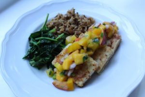 Coconut-Crusted Tofu with Peach Mango Salsa
