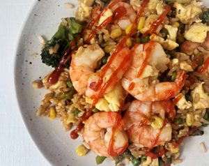 shrimp fried rice bowl pantry staples for healthy eating