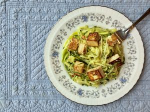 Sesame Ginger Tofu with Zoodles