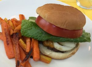burger and carrot fries