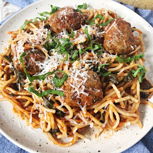 one pan spaghetti and meatballs